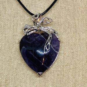 Jewelry - Amethyst Chakra Stone Heart Bow Necklace